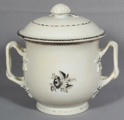 Chinese Export Hand Painted Porcelain Sugar Bowl with Lid, Ca. 1800