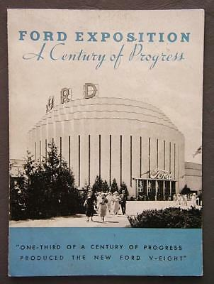 Original 1934 Ford Exposition A Century Of Progress Handy Fold-Out Brochure