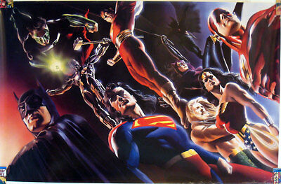 rare oop poster alex ross  justice league dc universe  24 by 36