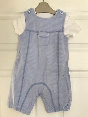 MOTHERCARE BOYS BLUE/WHITE DUNGAREES 12-18 Months (used)