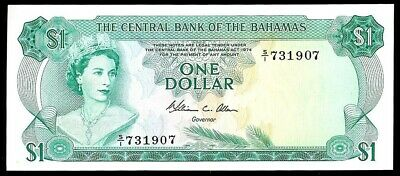 1974 CENTRAL BANK OF THE BAHAMAS $1 DOLLARS NOTE KP #35b CONDITION CRISP UNC.