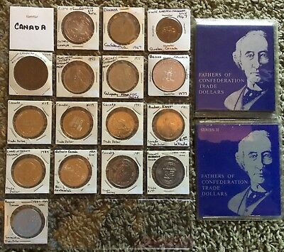 One Lot Of 16 - Plus Set #1 & #2 Fathers of the Confederation Trade Dollars