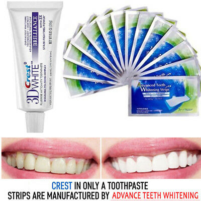 Professional  Advanced Teeth Whitening Strips White 3D  + Crest3D Toothpaste