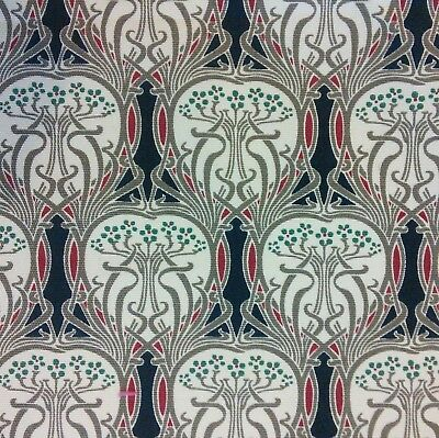 Navy Red Art Nouveau Print on Cotton Duck Fabric 140cm wide, For Bags, Coats