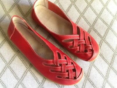 Red Leather Ladies Flat Shoes Size 42