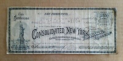 Consolidated New York Mining Co.,Stock Certificate,San Francisco,CA.,Nov.8,1893
