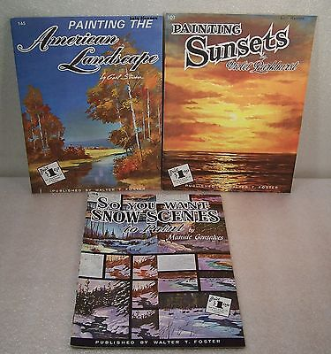 W Foster Art Instruction Books 3 Lot Vintage Draw Paint Snow Sea