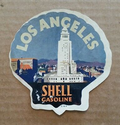 Los Angeles,CA.,Shell Gasoline Luggage Label,1920's
