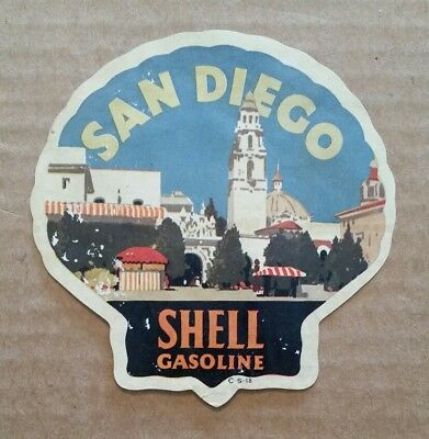 San Diego,CA.,Shell Gasoline Luggage Label,1920's