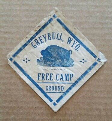 Greybull Free Campground,Greybull,WY.,VINTAGE Luggage Label,1920's