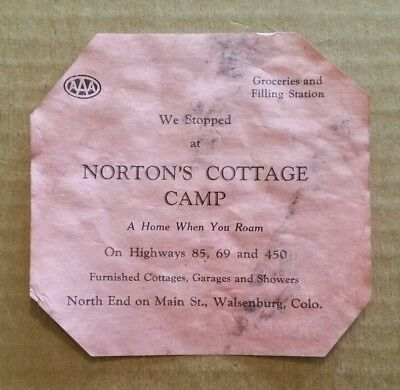 Norton's Cottage Camp,Walsenburg,CO.,Luggage Label,1920's