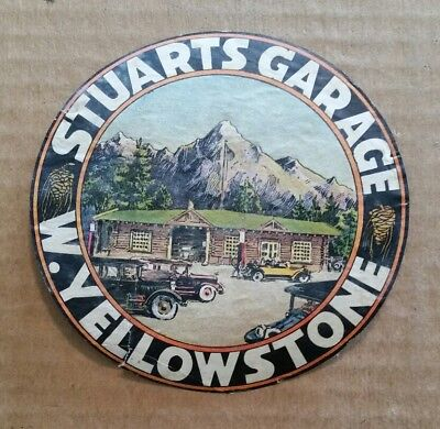 Stuarts Garage,W.Yellowstone,MT.,Luggage Label,VINTAGE 1920's