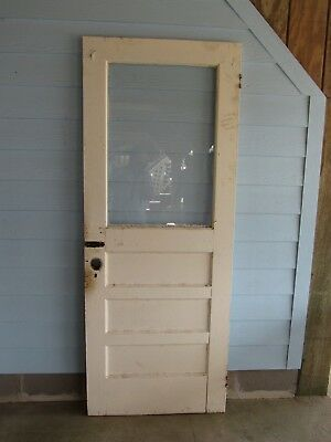 Vintage Solid Wood Door 3 Panel With Glass Top 1940's Sawmill House