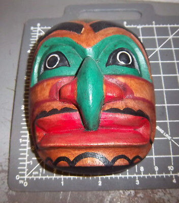 Wood Tribal Style Mask - hand carved & hand painted - Green eyes & Nose, 3.5 x 4