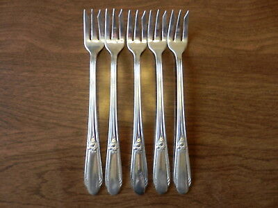"1937 Wm Rogers Memory Hiawatha Cocktail Seafood Fork 5 1/2"" Set of 5"