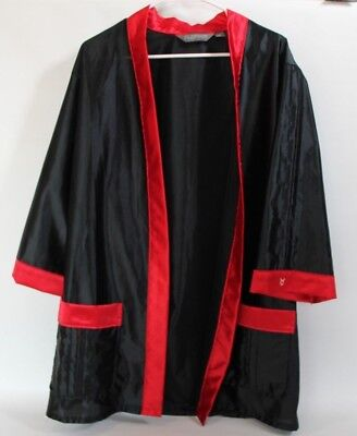 GENUINE Vintage PLAYBOY Hugh Hefner Lounge Silk Robe Black Red Size Medium