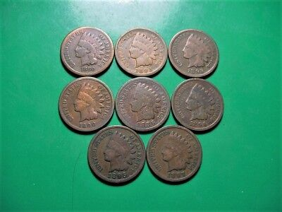 Nice Mix Of 8 Indian Head Cents - 1886 Included - See Pictures!