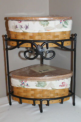 New Lot Longaberger Small Corner Baskets, Wrought Stand. Lid, Protector, Fabric