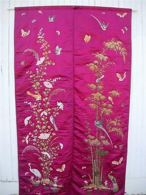 """Pair Beautiful Vintage Chinese Embroidered Silk Panels W Birds & Flowers 85""""l"""