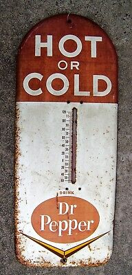 Dr Pepper Hot or Cold steel thermometer 1950s vintage advertising sign