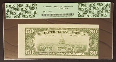 MULTIPLE ERRORS (END OF ROLL & MISALIGNED BACK) $50 Note PCGS 50 About New