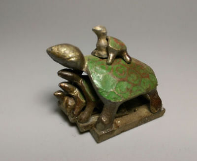 Chinese Collectibles Old bronze  longevity family wealth lucky turtle  statue