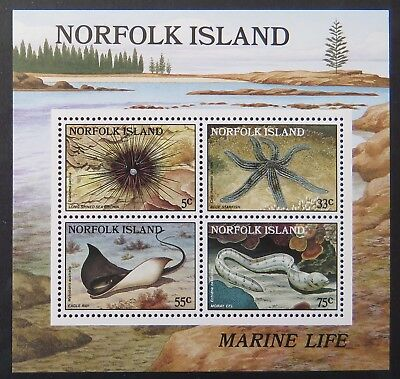 1986 Norfolk Island Stamps - Sea Marine Life on Norfolk Is Reefs-Mini Sheet MNH