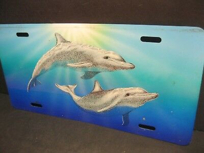 """License Plate: """"DOLPHINS SWIMMING IN THE DEEP BLUE SEA"""" ~ nice novelty!"""