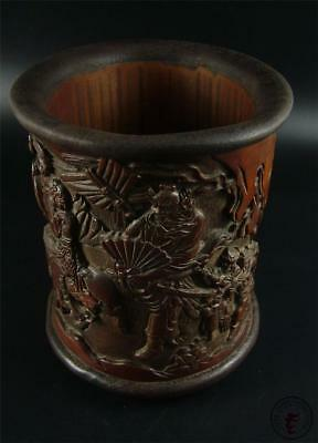Fine Chinese Bamboo Root Carved Brush Pot~ZHONG KUI MARRIED HIS SISTER TO FRIEND