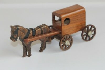 Wooden Amish Horse and Buggy Decorative Item Country Farmhouse Cottage Decor