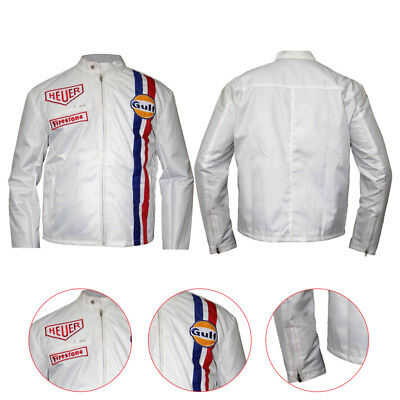 Mens McQueen Le Mans White Gulf Racing Style Stripes White Leather Jacket