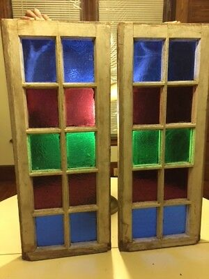 2 Vintage Antique Sash Stained Glass Windows