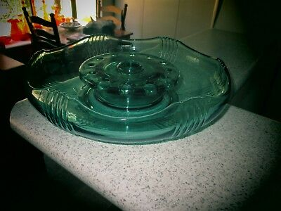 Glass FLOAT BOWL and FROG ...EMERALD  GREEN