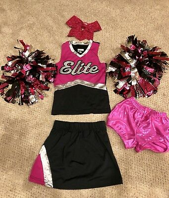 Augusta Cheer Costume Girls Size Small - Hot pink/Black Includes Poms & Hairbow