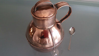 ANTIQUE COPPER GERSEY MILK CAN BY J GUENAULT TIN SMITH JERSEY. NICE CONDITION c