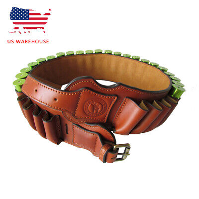 Tourbon Genuine Leather Hunting Shells Holder Ammo Carrying Case Belt Pouch USA