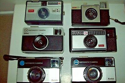 Kodak instamtic collection 6 cameras , 3 with cases All functional