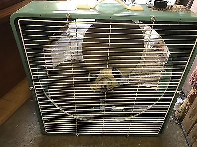 Mid Century Modern Turquoise Blue Color Superlectric 2069 Metal 3 Speed Box Fan
