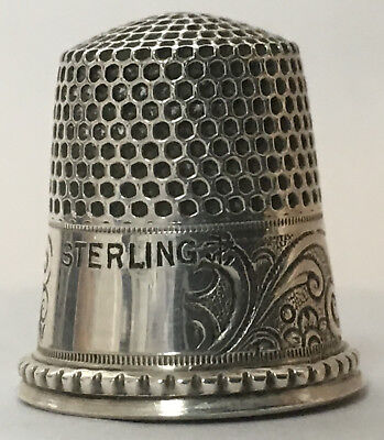 Stern Bros. Sterling Thimble - Recessed Rim - Acanthus Leaves, Scrolls & Circles