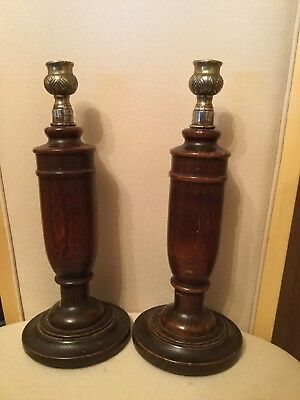 Pair of Antique Turned Wooden Candle Sticks With Metal Mounts