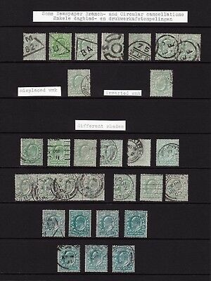 GB. KEVII. 1/2d SELECTION. VARIOUS SHADES & CANCELS.