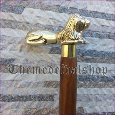 Victorian BRASS LION HEAD HANDLE WOODEN WALKING CANE STICK VINTAGE DESIGNER