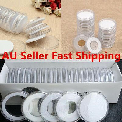 20pcs Transparent Round Coins Holder Portable Storage Case Box Container Display