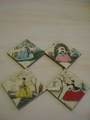 Old tiles depicting the 4 seasons hand painted by DORON Dorothy Jones