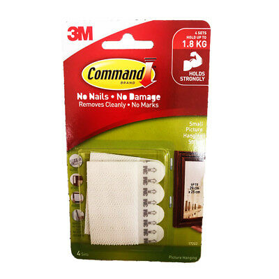 3M COMMAND Damage-Free Hook 4 Sets Small Picture Hanging Strips 1.8Kg Free Post
