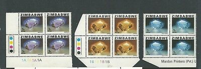 1980 Issues of 1978 of Rhodesia and New Value Part set 3 in Blocks of 4 MUH/MNH