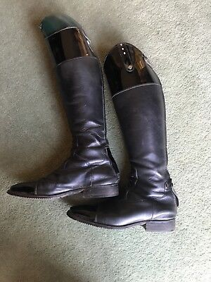 De Niro Riding Boots - black leather with patent top and toes, size 40