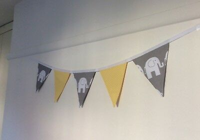 Handmade Grey / Yellow Elephant Bunting Nursery Party Baby Shower Boy Girl Room