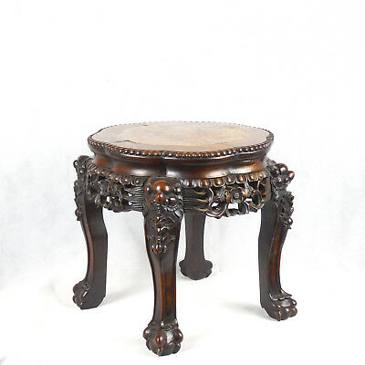 Chinese Ironwood Pot Stand with Marble Inset