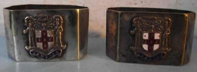 Antique Silver Plated Hexagonal Jamica Enamel Crested Napkin Rings worn